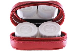 Click to swap image to alternate 1 - Amcon Leather Contact Lens Cases Cases - Red